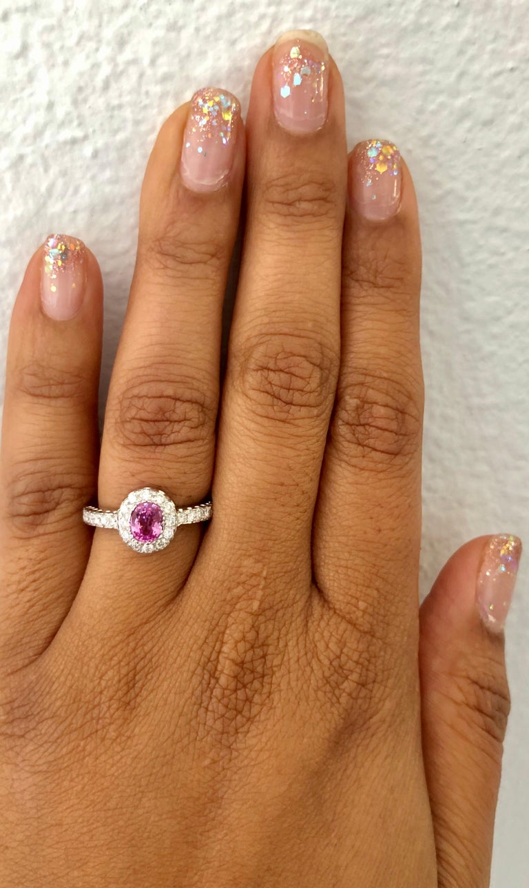 1.13 Carat Pink Sapphire Diamond 14 Karat White Gold Ring In New Condition For Sale In Los Angeles, CA