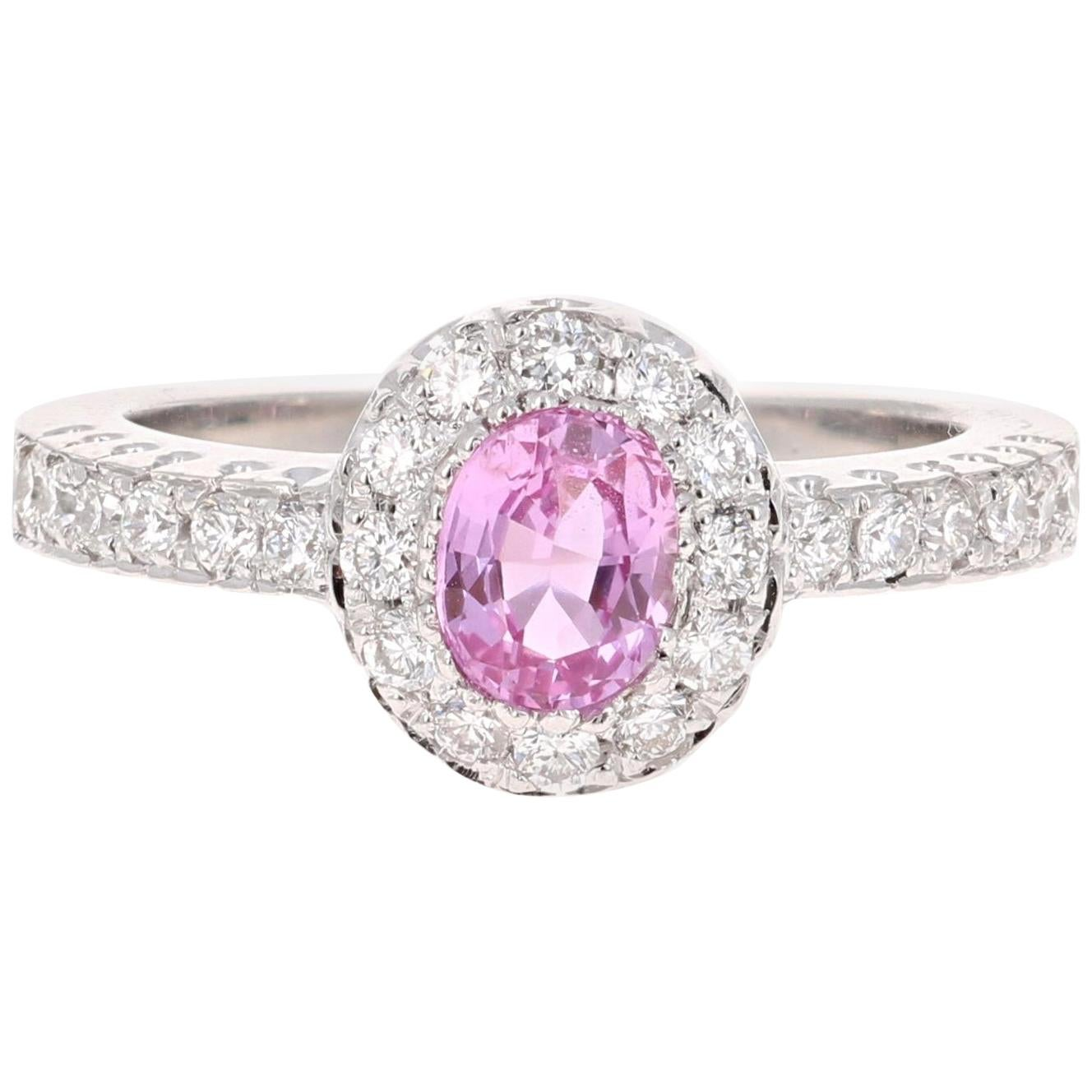 1.13 Carat Pink Sapphire Diamond 14 Karat White Gold Ring