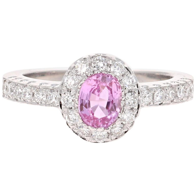1.13 Carat Pink Sapphire Diamond 14 Karat White Gold Ring For Sale
