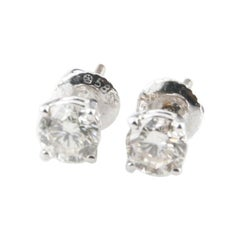 1.13 Carat Round Brilliant Diamond Stud Earrings in White Gold