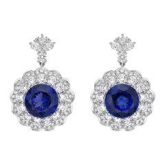 11.3 Carat Tanzanite and White Diamond Earring in 18 Karat White Gold