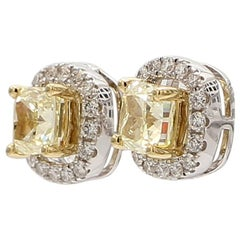 1.13 Carat Total Weight Yellow Cushion Cut Halo Earrings 18 Karat Gold