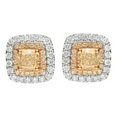 1.13 Carat T.W. Yellow Diamond 14 Karat Two-Tone Gold Stud Earrings