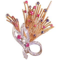 1.13 Carat Vintage Yellow White Gold Diamond Sapphire Ruby Brooch