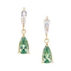 1.13 Carats Demantoid Garnet and Diamond Earrings in 18 Karat Yellow Gold