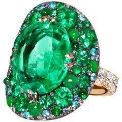 11.30 Ct. Columbian Emerald Burmese Jadeite Paraiba Tourmaline Blue Diamond Ring