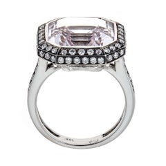 11.31 Carat Kunzite and 0.79 Carat Diamond Ring in 18 Karat White Gold