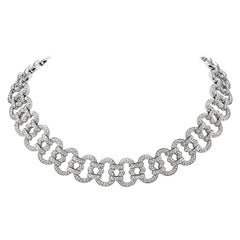 11.32 Carat Diamond and 18 Karat White Gold Chain Collar Necklace