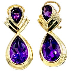 11.32 Carat Pear Shape Amethyst and Yellow Gold Clip Post Drop Earrings
