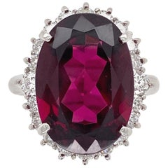 11.32 Carat Rhodolite Garnet Diamond Platinum Cocktail Ring Estate Fine Jewelry
