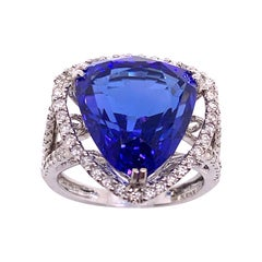 11.33 Carat Blue Trillion Cut Tanzanite and Diamond Ring