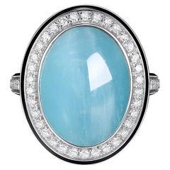 11.33 Carat Cabochon Aquamarine Diamond Enamel Ring in 18 Karat White Gold
