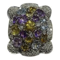 11.35 Carat Citrine Amethyst Blue Topaz White Diamond 18 Karat White Gold Ring