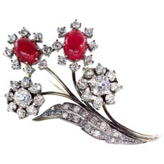 11.35 Carat Old Mine Diamond Cluster and Cabochon Ruby Flower Motif Brooch Pin