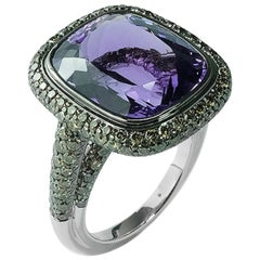11.36 Carat Cushion Cut Amethyst and Champagne Diamonds Cocktail Ring