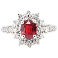 1.137 Carat Ruby and Diamond Double Halo Ring Set in Platinum