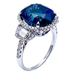 11.38 Carat Oval Sapphire and Diamond 18 Karat White Gold Cocktail Ring