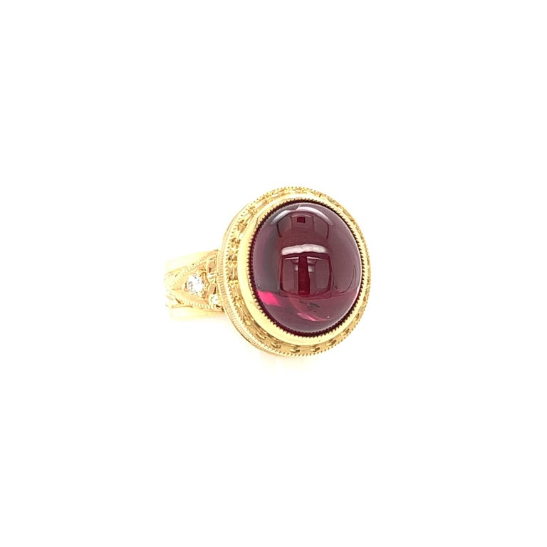 Artisan 11.39 Ct Rubellite Tourmaline Cabochon, Diamond Yellow Gold Engraved Dome Ring For Sale