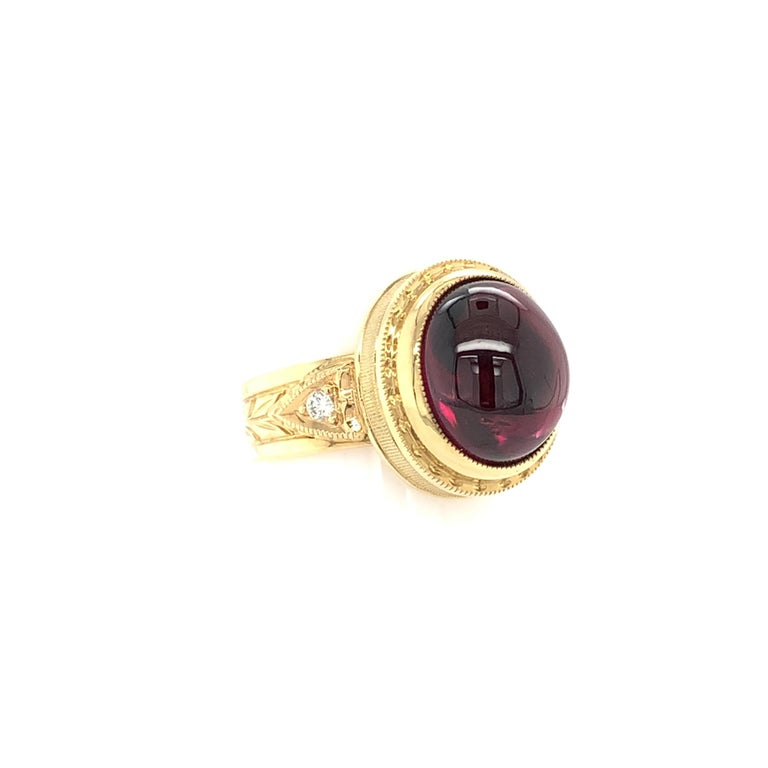11.39 Ct Rubellite Tourmaline Cabochon, Diamond Yellow Gold Engraved Dome Ring For Sale 1