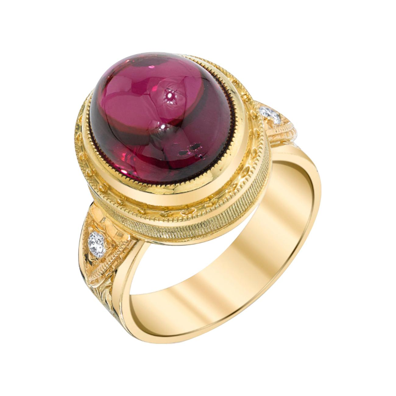 11.39 Ct Rubellite Tourmaline Cabochon, Diamond Yellow Gold Engraved Dome Ring