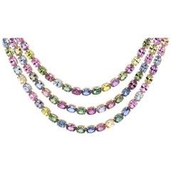 113.90 Carat Fancy Sapphire Multi Strand 18 Karat White Gold Necklace