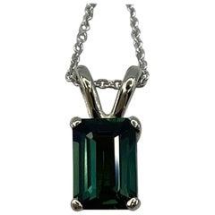 1.13ct Deep Greenish Blue Thai Sapphire White Gold Emerald Octagon Cut Pendant