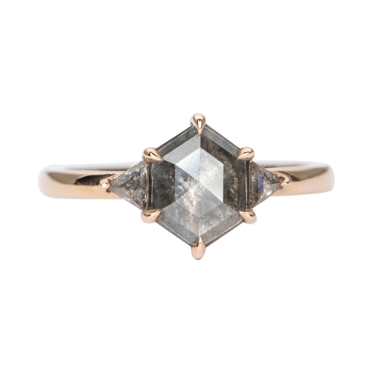 1.13ct Hexagon Salt and Pepper Diamond 14K Rose Gold Engagement Ring AD1749-31