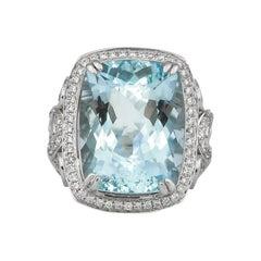 11.4 Carat Aquamarine and Diamond Ring in 18 Karat White Gold