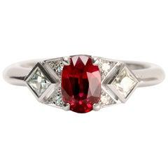 1.14 Carat Burmese Ruby and Diamond Art Deco Ring in 18 Karat White Gold