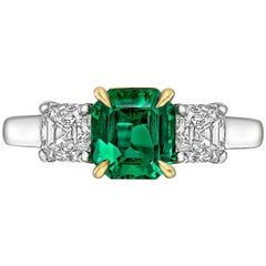 1.14 Carat Emerald and Diamond Three-Stone Ring