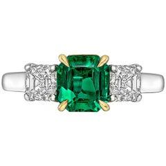 1.14 Carat Emerald and Diamond Three-Stone Ring