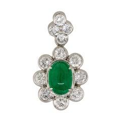 1.14 Carat Emerald Cabochon Flower Pendant with Diamonds Platinum