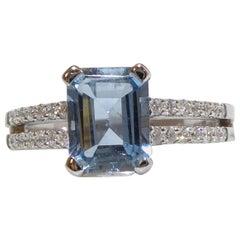 1.14 Carat Emerald Cut Aquamarine and Diamond Ring, White Gold, Vintage