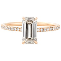 Eva Fehren 1.14 Carat Emerald Cut Diamond Muse Ring in 18 Karat Rose Gold