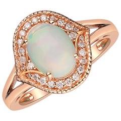 1.14 Carat Ethiopian Opal and Diamond 14 Karat Rose Gold Ring