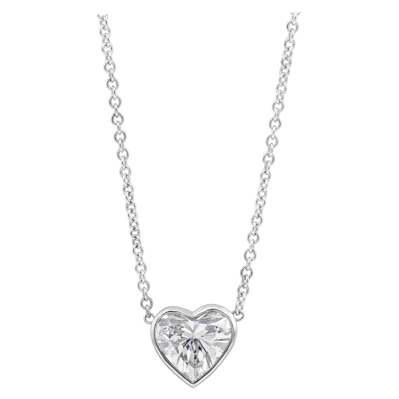 1.14 Carat Heart Shape Diamond Solitaire Pendant Necklace