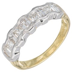 1.14 Carat Nine Diamond Yellow Gold Platinum Wedding Band Ring
