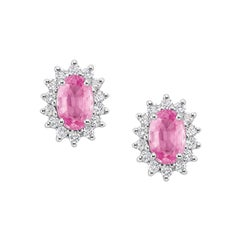Oval Pink Sapphire Diamond Earrings