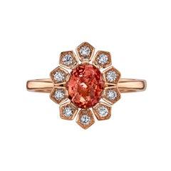 1.14 Carat Padparadscha Sapphire and Diamond Ring