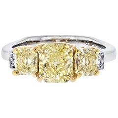 1.14 Carat Radiant Cut Fancy Yellow GIA Three Stone Diamond Engagement Ring