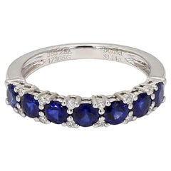 Sapphire and Diamond 14 Karat White Gold Band 1.22cts tw