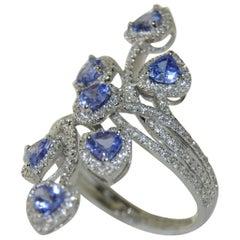 1.14 Carat Tanzanite and Diamond Ring in 14 Karat White Gold