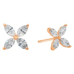 1.14 Carat Total Marquise Cut Diamond Stud Earrings