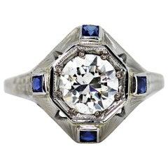 1.14 Carat Transitional Cut Diamond 18 Carat White Gold Target Engagement Ring