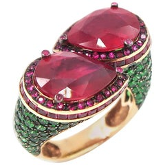 11.40 Carat Pear Shape Red Ruby Twist Rose Gold Ring Green Tsavorite