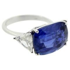 11.41 Carat Cushion Blue Sapphire and White Trillon Diamond Cocktail Ring