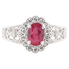 1.142 Carat No Heat Ruby and Diamond Ring Set in Platinum
