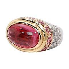 11.44 ct. Pink Tourmaline Cabochon, Spinel, Diamond, 18k 3-toned Gold Dome Ring