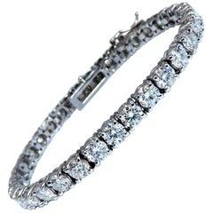 11.45 Carat Natural Diamonds Tennis Bracelet 14 Karat Gold Classic Riviera