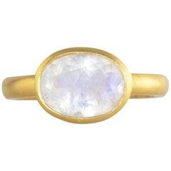 Ico & the Bird Fine Jewelry Rainbow Moonstone Jali  22 Karat Gold Ring